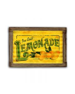 Lemonade Corrugated Framed, Food and Drink, Corrugated Rustic Barn Wood Sign, 24 X 16 Inches