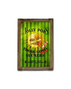 Jolly Pops Corrugated Framed, Food and Drink, Corrugated Rustic Barn Wood Sign, 16 X 24 Inches