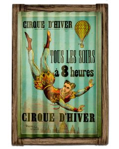 CIRQUE D'HIVER, Corrugated Rustic Barn Wood Signs, CORRUGATED, 16 X 24 Inches