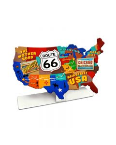 Route 66 USA Road Map Topper, Patriotic, Table Topper, 9 X 6 Inches