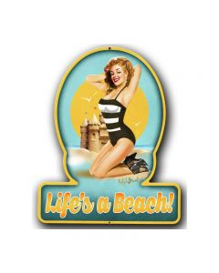 , Pinup Girls, Helmet Metal Sign, 13 X 16 Inches