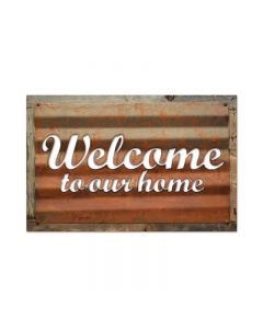 Welcome, Home and Garden, Corrugated Rustic Barn Wood Sign, 19 X 26 Inches