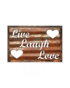 Live Laugh Love, Home and Garden, Corrugated Rustic Barn Wood Sign, 19 X 26 Inches