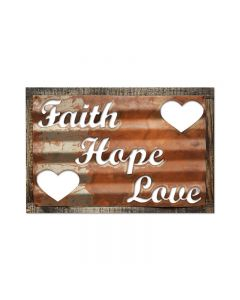 Faith Hope Love, Home and Garden, Corrugated Rustic Barn Wood Sign, 19 X 26 Inches
