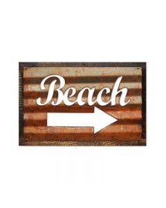 Beach, Home and Garden, Corrugated Rustic Barn Wood Sign, 19 X 26 Inches