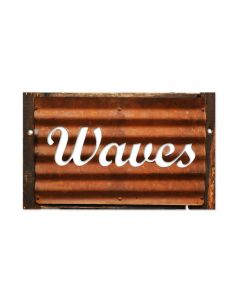 Waves, Home and Garden, Corrugated Rustic Barn Wood Sign, 19 X 26 Inches
