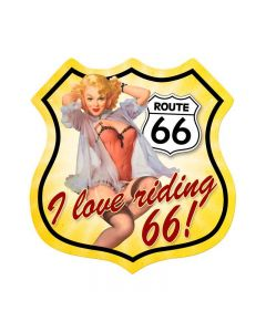 Route 66 Pinup, Pinup Girls, Shield Metal Sign, 15 X 15 Inches