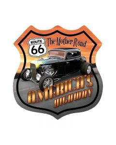Route 66 Hotrod, Automotive, Shield Metal Sign, 15 X 15 Inches