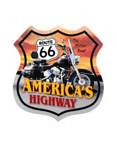 Route 66 Motorcycle, Motorcycle, Shield Metal Sign, 15 X 15 Inches