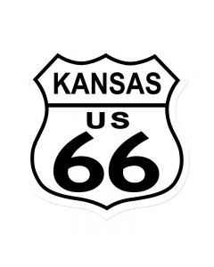 Route 66 Kansas, Street Signs, Shield Metal Sign, 15 X 15 Inches