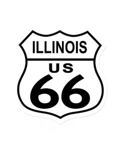Route 66 Illinois, Street Signs, Shield Metal Sign, 15 X 15 Inches