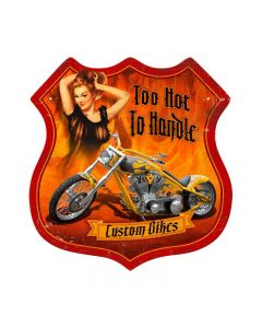 Flames Pinup, Motorcycle, Shield Metal Sign, 15 X 15 Inches