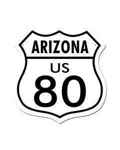 Route 80 Arizona, Street Signs, Shield Metal Sign, 15 X 15 Inches