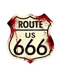 Route 666, Humor, Shield Metal Sign, 15 X 15 Inches