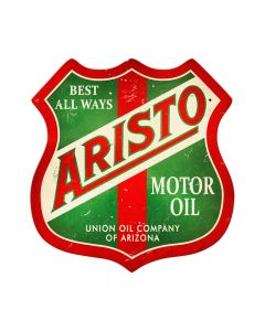 Aristo Oil, Automotive, Shield Metal Sign, 15 X 15 Inches