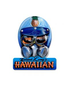 Roland Hawaiin, Automotive, Helmet Metal Sign, 15 X 12 Inches