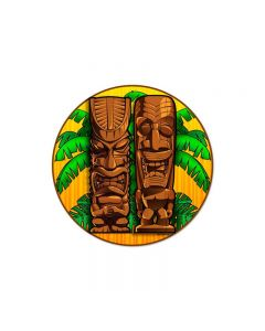 Tikis Round, Sports and Recreation, Round Metal Sign, 14 X 14 Inches