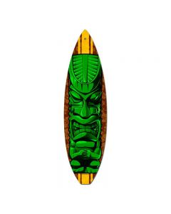 Green Tiki, Sports and Recreation, Surfboard Metal Sign, 6 X 22 Inches
