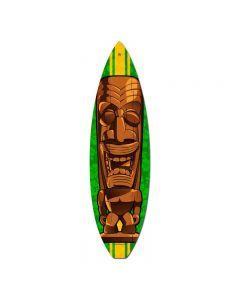 Brown Tiki, Sports and Recreation, Surfboard Metal Sign, 6 X 22 Inches