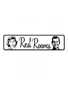 Restrooms, Metal Sign, Metal Sign, 5 X 20 Inches