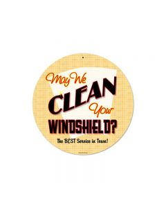 May We Clean, Automotive, Round Metal Sign, 14 X 14 Inches
