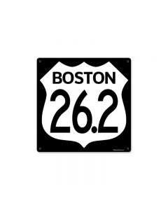 Marathon Boston, Sports and Recreation, Metal Sign, 12 X 12 Inches