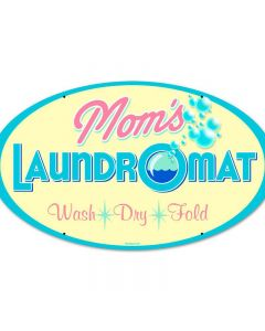 Moms Laundry, Home and Garden, Round Metal Sign, 14 X 24 Inches
