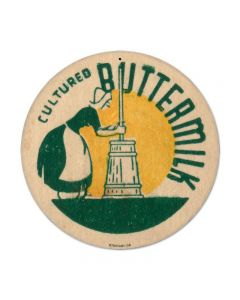 Buttermilk, Food and Drink, Round Metal Sign, 14 X 14 Inches