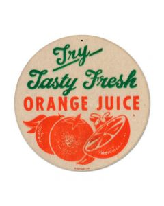 Orange Juice, Food and Drink, Round Metal Sign, 14 X 14 Inches