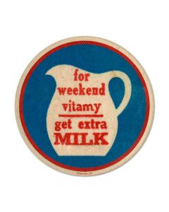 Vitamy Milk, Food and Drink, Round Metal Sign, 14 X 14 Inches
