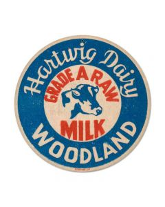 Grade A Milk, Food and Drink, Round Metal Sign, 14 X 14 Inches