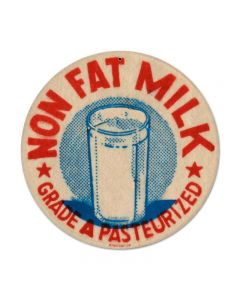 Nonfat Milk, Food and Drink, Round Metal Sign, 14 X 14 Inches
