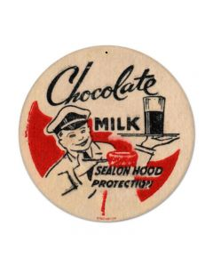 Chocolate Milk, Food and Drink, Round Metal Sign, 14 X 14 Inches