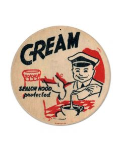 Cream, Food and Drink, Round Metal Sign, 14 X 14 Inches
