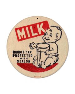 Baby Milk, Food and Drink, Round Metal Sign, 14 X 14 Inches