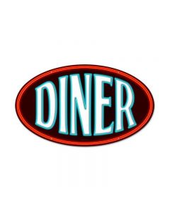 Diner, Food and Drink, Oval Metal Sign, 14 X 24 Inches