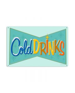 Cold Drinks, Food and Drink, Vintage Metal Sign, 24 X 16 Inches