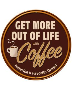 Coffee, Food and Drink, Round Metal Sign, 28 X 28 Inches