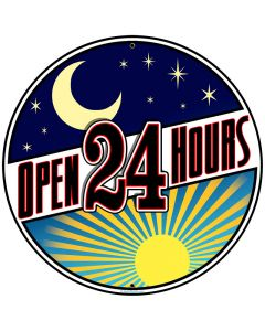 Open 24 Hours, Home and Garden, Round Metal Sign, 28 X 28 Inches