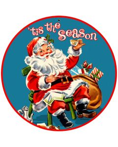 Tis The Season, Home and Garden, Round Metal Sign, 28 X 28 Inches