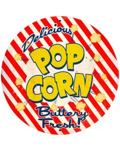Popcorn, Food and Drink, Round Metal Sign, 28 X 28 Inches