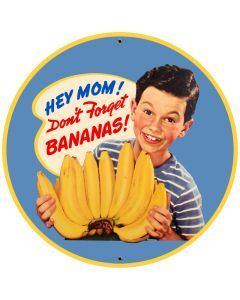 Bananas, Food and Drink, Round Metal Sign, 28 X 28 Inches