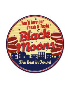 Black Moons, Food and Drink, Round Metal Sign, 14 X 14 Inches