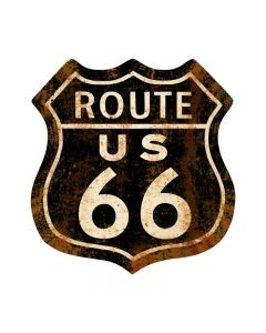 Route 66 Rusty, Street Signs, Shield Metal Sign, 28 X 28 Inches