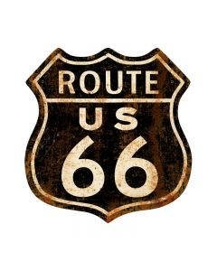 Route 66 Rusty, Street Signs, Shield Metal Sign, 15 X 15 Inches