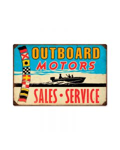 Outboard Motors, Sports and Recreation, Vintage Metal Sign, 18 X 12 Inches