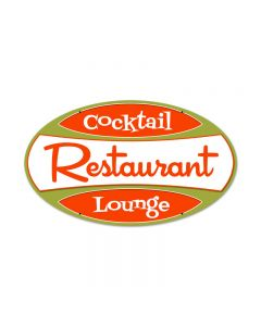 Rest Cocktail Lounge, Food and Drink, Oval Metal Sign, 24 X 14 Inches