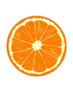 Orange, Food and Drink, Round Metal Sign, 14 X 14 Inches