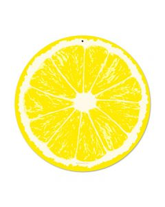Lemon, Food and Drink, Round Metal Sign, 14 X 14 Inches