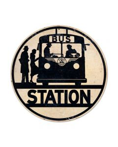Bus Stop, Automotive, Round Metal Sign, 14 X 14 Inches
